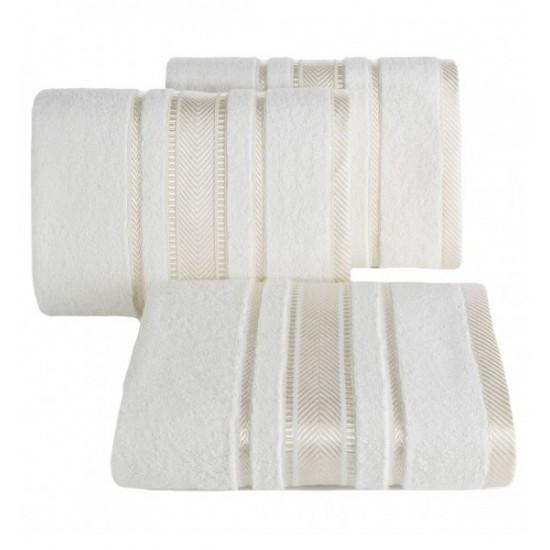 Krémový luxusný bavlnený uterák s ozdobnými pásmi