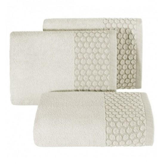 Béžový bavlnený uterák s ozdobenou časťou