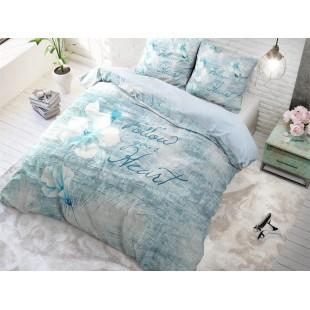 Modré posteľné obliečky z bavlny s kvetom