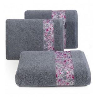 Elegantný tmavosivý bavlnený uterák s ozdobným pásom