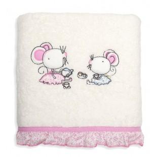 Detská krémovo ružová osuška s motívom myšiek