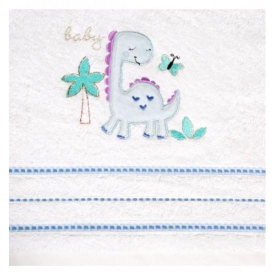 Chlapčenská modro biela osuška s detským motívom dinosaura