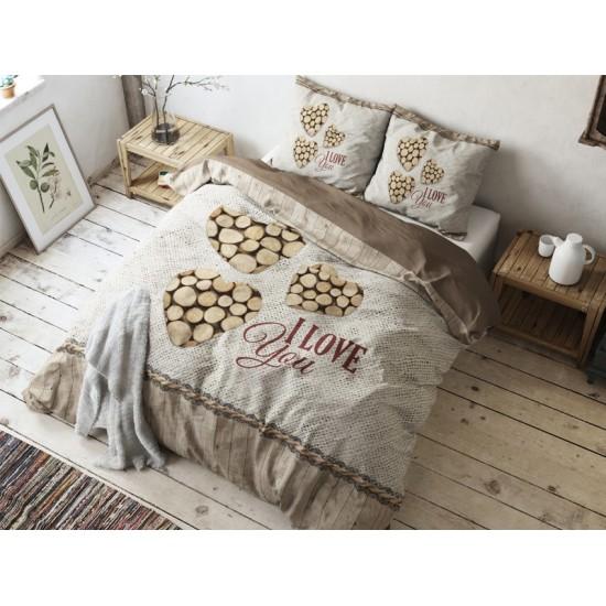 Hnedé romantické posteľné obliečky z bavlny I LOVE YOU