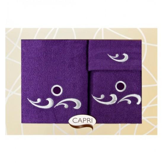 3- časťový komplet uterákov tmavo fialovej farby s ozdobnou výšivkou