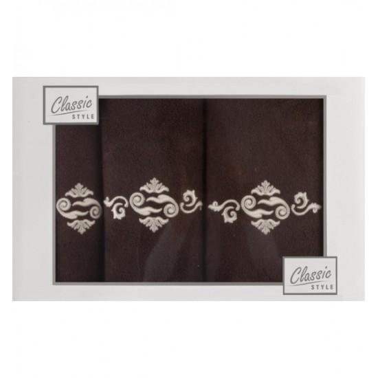 Hnedý 3- časťový komplet uterákov s elegantnou výšivkou