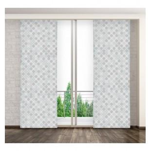 Sivý panelový záves s guličkovým vzorom