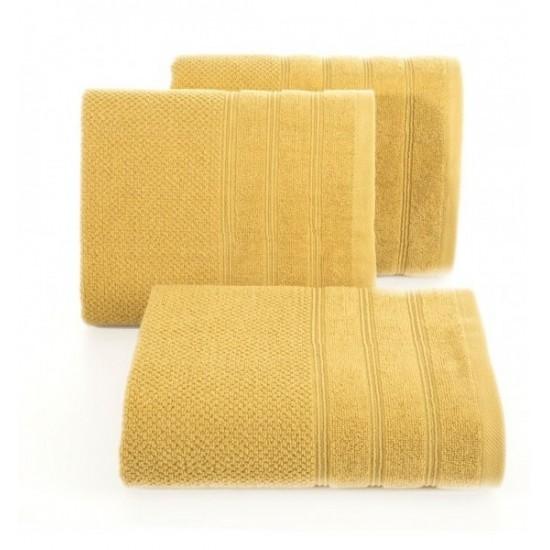 Žltý jednofarebný bavlnený uterák do kúpeľne
