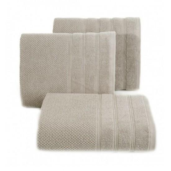 Béžový jednofarebný bavlnený uterák do kúpeľne