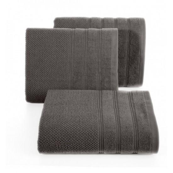 Jednofarebný tmavosivý bavlnený uterák do kúpeľne