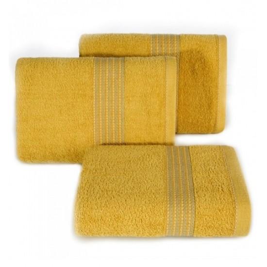 Horčicový bavlnený uterák do kúpeľne s výšivkou