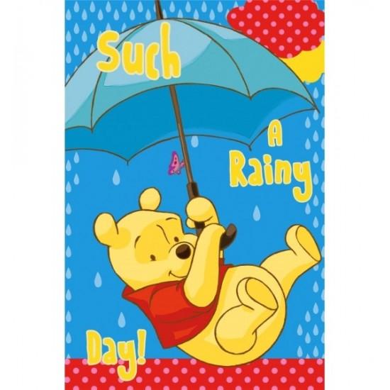 Modrý detský uterák s motívom Macko Pu