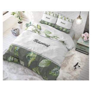 Biele bavlnené posteľné obliečky s listami