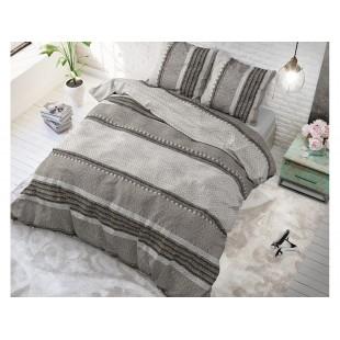 Sivé bavlnené posteľné obliečky RIVER STRIPES