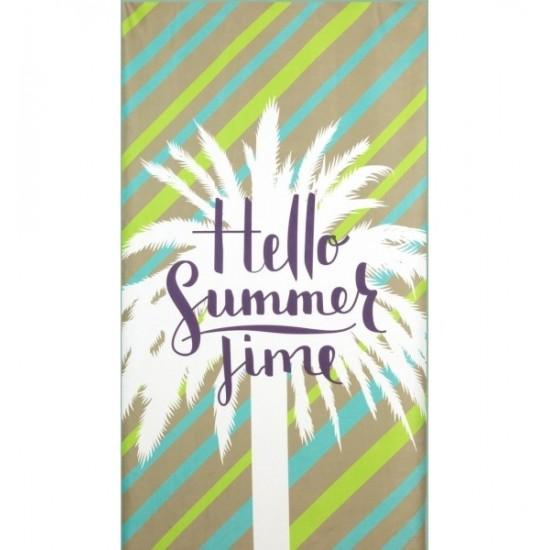 Plážová osuška s motívom palmy v odtieňoch zelenej farby