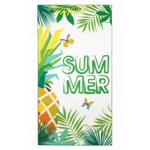 Bielo zelená plážová osuška s letným motívom a ananásom