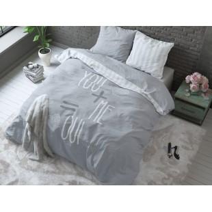 Svetlosivé posteľné obliečky pre zaľúbené páry