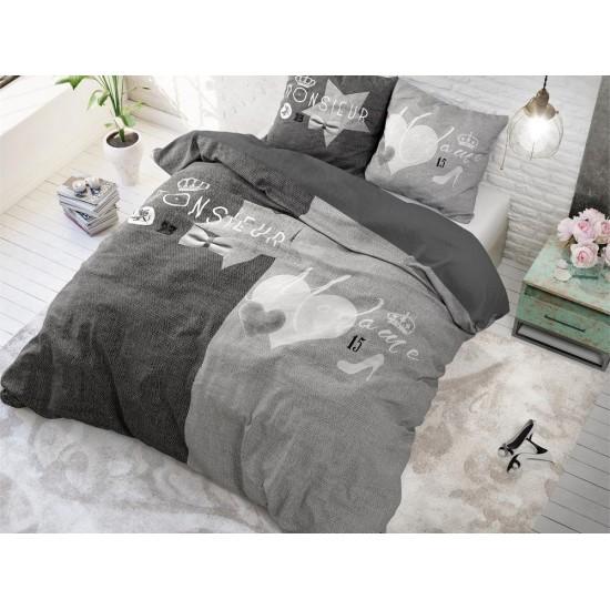 Bavlnené sivé posteľné obliečky pre muža a ženu