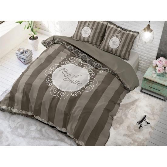 Sivo hnedé bavlnené posteľné obliečky elegantné