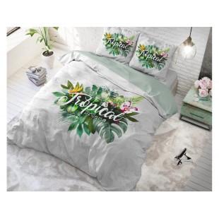 Bavlnené posteľné obliečky sivo zelenej farby s tropickým motívom