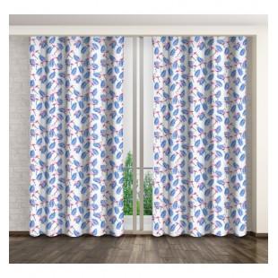 Moderný biely dlhý záves s motívom plameniakov a modrých palmových listov
