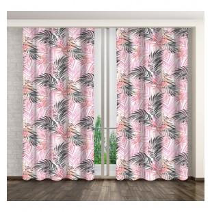 Štýlový dlhý záves s palmovými listami v bielo čierno ružovej farbe