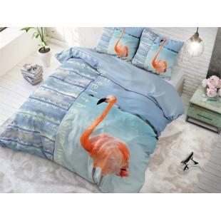 Modré bavlnené posteľné obliečky s pelikánom
