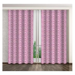 Moderný ružový dlhý záves s bielym motívom palmových vetiev