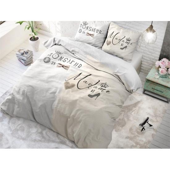 Krémové posteľné obliečky s motívom pre manželský pár