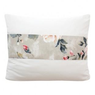 Krémová dekoračná obliečka na vankúš s ozdobným pásom kvetov