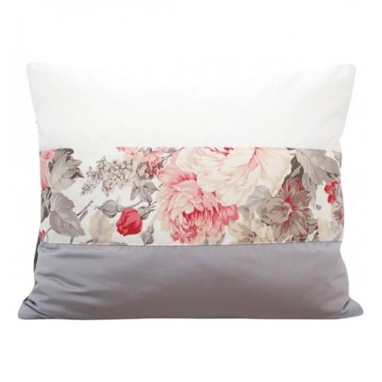 Sivo biela elegantná obliečka na vankúš s motívom kvetov