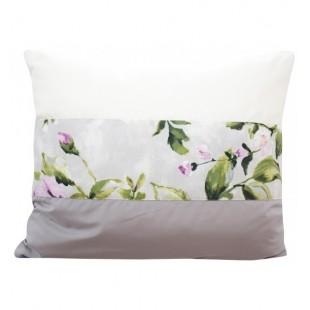 Sivo krémová elegantná obliečka na vankúš s motívom kvetov