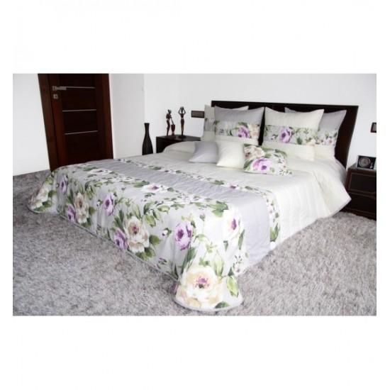 Krémovo sivo zelený prešívaný elegantný prehoz na posteľ s kvetinovým motívom