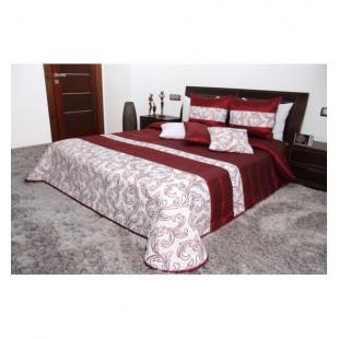Bordovo biely elegantný dekoračný prehoz na posteľ s ornamentami