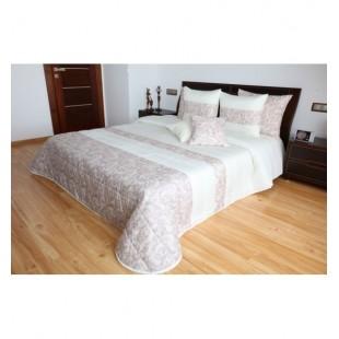 Elegantný krémovo béžový prehoz na posteľ s ornamentami