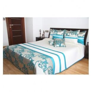 Krémový prešívaný prehoz na posteľ s tyrkysovým vzorom