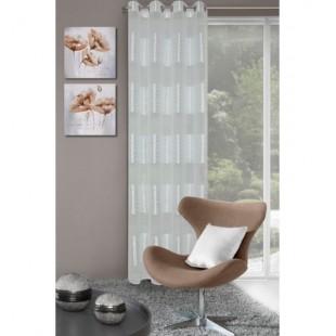 Krémový elegantný záves na okno so vzorom kamenia