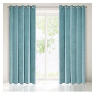 Matný mäkký záves na okno v modro sivej farbe