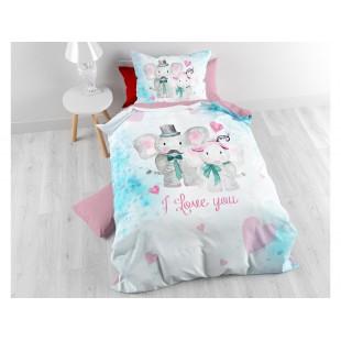 Detské bavlnené posteľné obliečky so sloníkmi