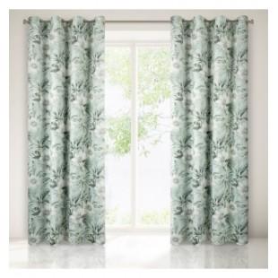 Zeleno béžovo sivý záves na okno s kvetinovým vzorom