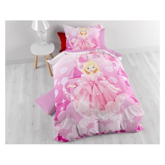 Ružové posteľné obliečky pre dievčatá s princeznou