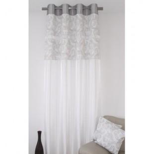 Biely jednodielny záves na okno so sivým elegantným vzorom