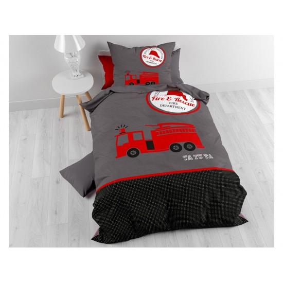 Sivé detské posteľné obliečky motív požiarnicke auto