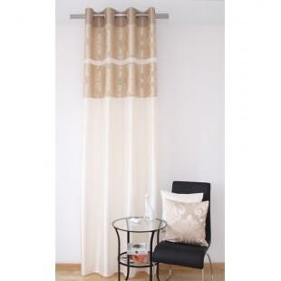 Svetlo béžový elegantný záves na okno s elegantným vzorom v orechovej farbe