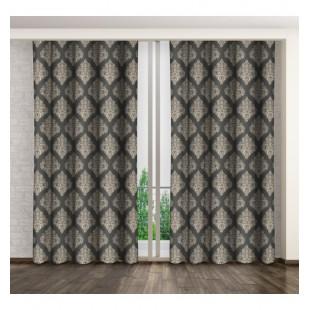 Sivý lesklý záves na okno so zlatým elegantným vzorom