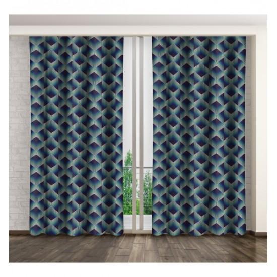 Modrý záves na okno s bodkovaným vzorom