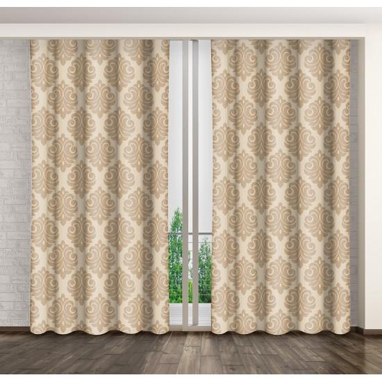Béžový záves na okno s elegantným vzorom