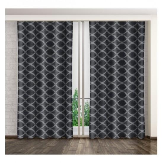 Sivý lesklý záves na okno so vzorom