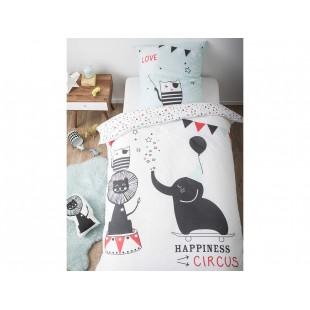 Bavlnené detské posteľné obliečky biele s motívom slona v cirkuse