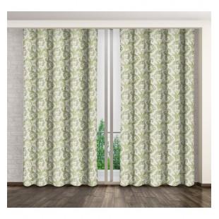 Biely záves na okno s elegantným zeleným vzorom