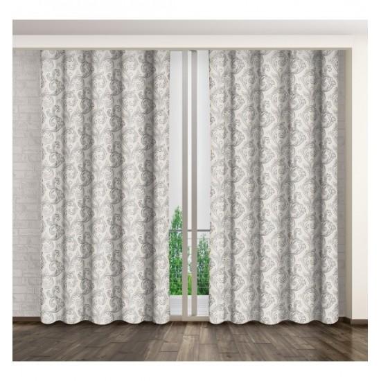 Biely záves na okno s elegantným sivým vzorom